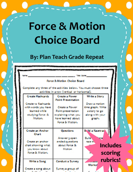 Force & Motion Choice Board (9 Activities) Rubrics Included!
