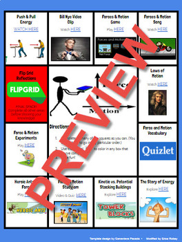 Force & Motion Choice Game Board 4th grade VA Science SOL standards