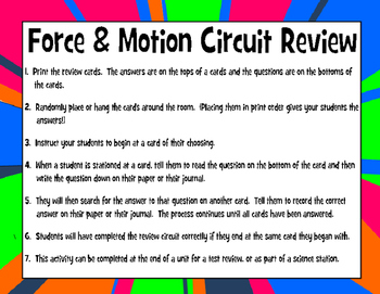Force & Motion Circuit Review Activity