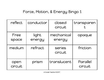 Force, Motion & Energy Bingo