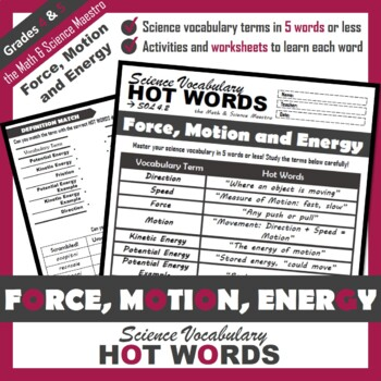 4th Grade Science Hot Words: Force, Motion and Energy Vocabulary + Activities!