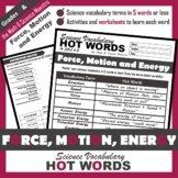 4th Grade Science Hot Words: Force, Motion and Energy Voca