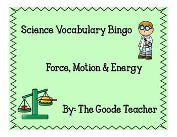 Force, Motion & Energy Vocabulary Bingo