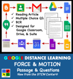 Force & Motion Google Doc Article & Questions Distance Learning Friendly