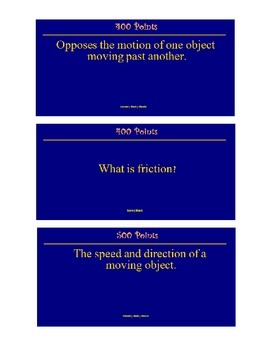Force & Motion Jeopardy Review Game