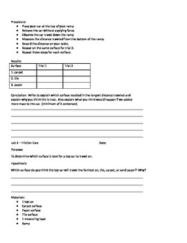 Force & Motion Lab Sheets
