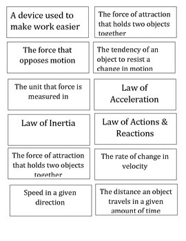 Force, Motion, & Machines Flashcards