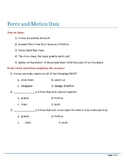 Speech Therapy-Special Education-Force & Motion Modified Quiz