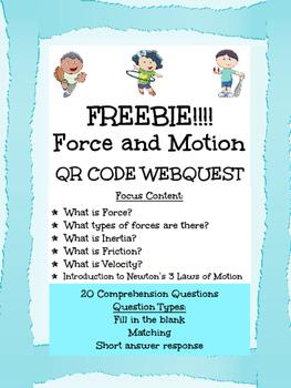 Force & Motion QR Webquest FREEBIE!