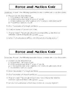 Force & Motion Quick Quiz