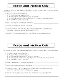 Force & Motion Quick Quiz