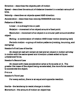 Force & Motion Study Guide