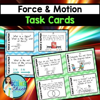 Force & Motion Task Cards - with or without QR codes