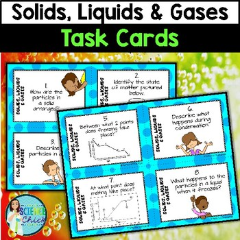 Solids, Liquids & Gases Task Cards - with or without QR codes