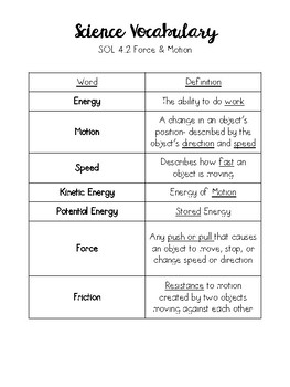 Force & Motion Vocabulary Activities SOL 4.2