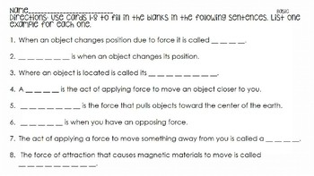 Force & Motion Vocabulary Scoot