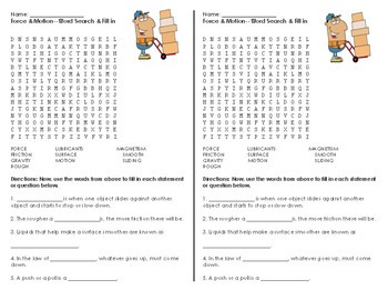 Force & Motion Word Search & Fill-in-the-Blank activity