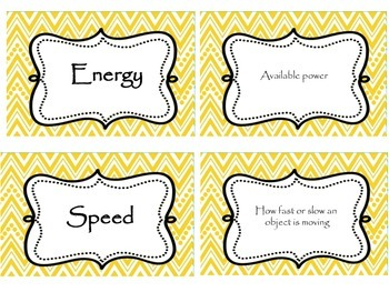 Force, Motion, and Energy Matching Cards