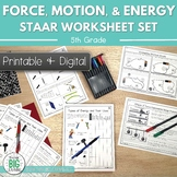Force, Motion, and Energy STAAR Review Worksheets 5th Goog