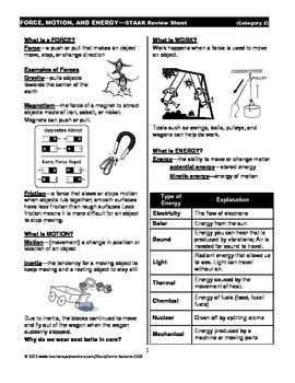 Force, Motion, and Energy STAAR Review