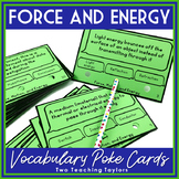 Force, Motion, and Energy Vocabulary Activity   Poke Cards