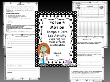 Force & Motion lab bundle for Newton's three laws, inertia, speed & more