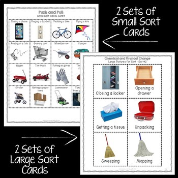 Force: Push and Pull Sort Cards * Large and Small