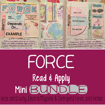 Force Reading Comprehension Interactive Notebook Mini BUNDLE