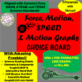 Force, Motion, SPEED & Graphs CHOICEs BOARD with CRAZY FRE