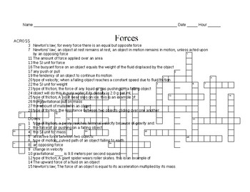 Force Vocabulary Crossword Puzzle Worksheet