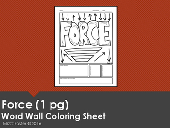 Force Word Wall Coloring Sheet