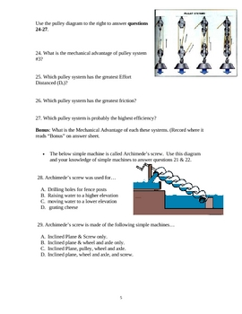 Force, Work, & Simple Machines Test with Answer Key