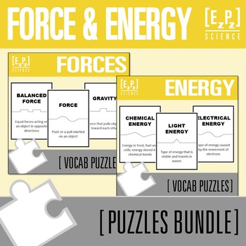 Force and Energy Science Puzzles Bundle