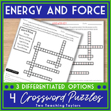 Force and Forms of Energy Worksheets | Crossword Puzzles