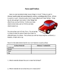 Force and Friction Worksheet