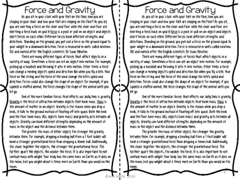 Force and Gravity Reading Comprehension Interactive Notebook