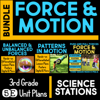 Force and Motion 5E Unit Plans AND Science Stations for Third Grade