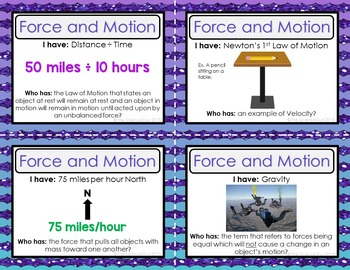 Force and Motion Activity - I Have, Who Has?