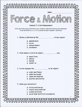 Force and Motion Worksheets | Have Fun Teaching