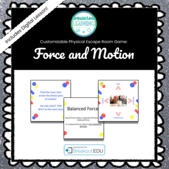 Force and Motion (Stop Dr. Devious) Customizable Escape Room / Breakout Game