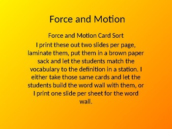 Force and Motion Card Sort/Word Wall