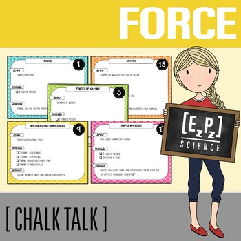 Force and Motion Chalk Talk Task Cards