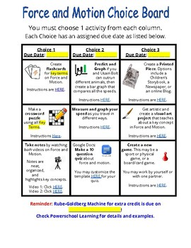 Force and Motion Choice Board (Personalized Learning) with extra lesson ideas