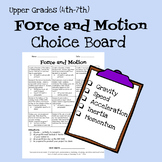 Force and Motion Choice Board