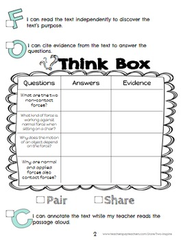 Force and Motion Close Reading Evidence & Text-Dependent Packet