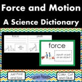 Force and Motion   Color, Cut, and Glue Dictionary