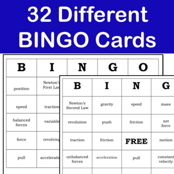 Force and Motion  Vocabulary & Bingo Games: 5.P.1