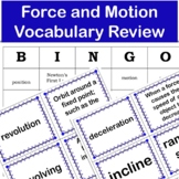 Force and Motion  Vocabulary Games