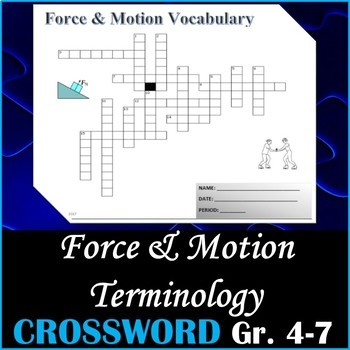 Force and Motion Science Crossword Puzzle