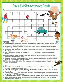 Force and Motion Crossword Puzzle and Word Search Find Activities
